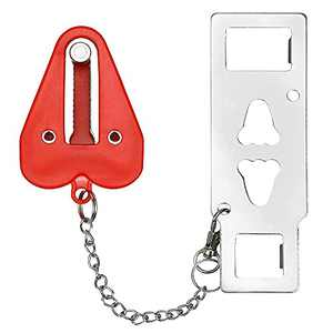 Portable Door Lock for Home Travel Durable Security Door Locks Provide Additional Safety and Privacy for Traveling Hotel Home Apartment (red)