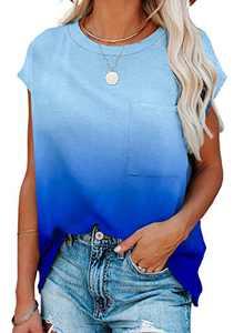 BLENCOT Women's Gradient Color Print Shirts Crewneck Summer Tops Short Sleeve Tee Fashion Blouse with Pocket Blue Large