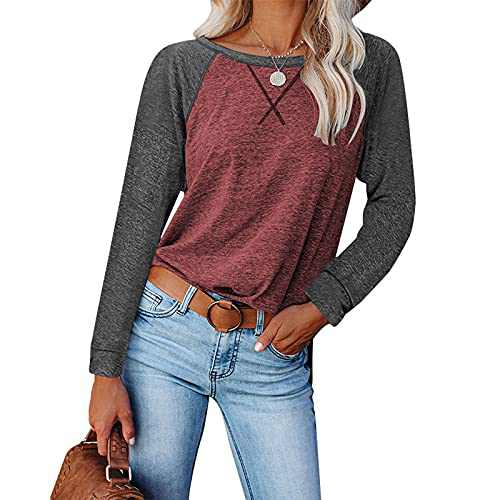 Womens Shirts, Tshirts for Womens Comfy Loose Long-Sleeved Casual T-Shirt Split Women Tops Blouse (Red and Deep Gray, XL)