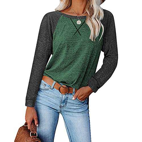 Womens Shirts, Tshirts for Womens Comfy Loose Long-Sleeved Casual T-Shirt Split Women Tops Blouse (Green and Gray, L)