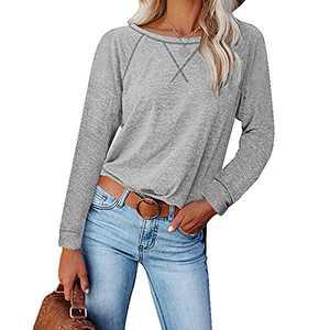 Womens Shirts, Tshirts for Womens Comfy Loose Long-Sleeved Casual T-Shirt Split Women Tops Blouse (Light Gray, XXL)