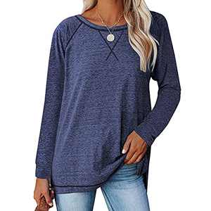 Womens Shirts, Tshirts for Womens Comfy Loose Long-Sleeved Casual T-Shirt Split Women Tops Blouse (Navy Blue, L)