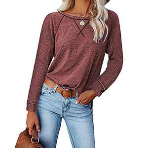 Womens Shirts, Tshirts for Womens Comfy Loose Long-Sleeved Casual T-Shirt Split Women Tops Blouse (Red, XXL)