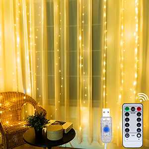 Curtain String Lights for Bedroom, Window String Lights, USB Plug, Warm White, 9.84x9.84FT, 10 String Lights, 300 pcs LED in Total