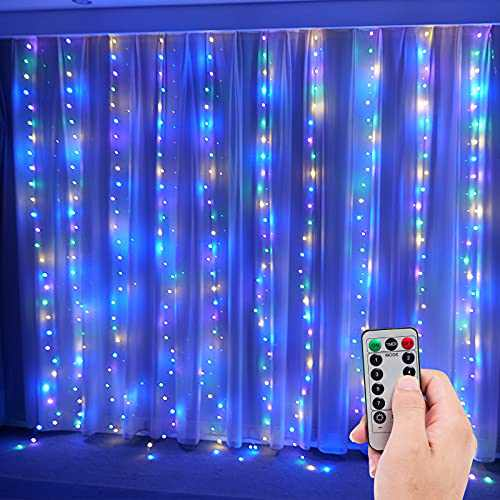 Curtain String Lights for Bedroom, Window String Lights, USB Plug, Multi Color 9.84x9.84FT, 10 String Lights, 300 pcs LED in Total
