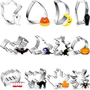 Halloween Cookie Cutters, 12PCS Cookie Cutter Set, Small Pumpkin Metal Cookie Cutters Shapes for Baking, Holiday Stainless Steel Biscuit Cookie Cutters for Halloween Thanksgiving Decorations