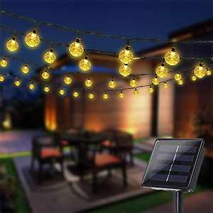 Solar String Lights Outdoor, 21FT 50 LED Crystal Ball Waterproof Solar Powered Globe Lights for Garden Patio Cafe Gazebo Holiday Party Outdoor Decorations (Warm White Crystal Globe)