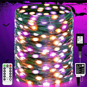 ROADAYLY Halloween Lights 196ft 500 LED Purple and Orange Halloween Lights Outdoor with IP65 Waterproof 8 Modes Remote Halloween Decorations Green Wire Light String for Indoor Party Haunted House Yard