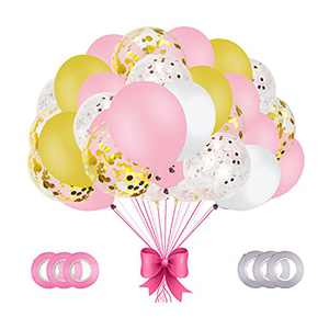 AMAWILL 66Pcs Pink Gold Confetti Latex Balloons Kit,12 Inch Pink White Gold Helium Balloons Party Supplies for Wedding,Girl Birthday,Baby Shower Party Decoration