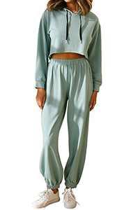 PRETTYGARDEN 2 Piece Outfits for Women Crop HoodedSweatshirtWomen LongPants Tracksuit JoggerSets (Green, X_Large)