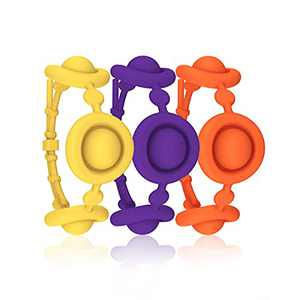 Pop Fidget Bracelets for Kids and Adults, 3 Pack Colorful Simple Dimple Digits Wristband Popper Sensory Silicone Small Toy for Girls, 2021 Mini Push Bubble Popping for Autism Anxiety and Stress Relief