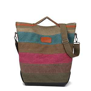 Canvas Purse for Women Hobo Bags Top Handle Crossbody Purses and Handbags Casual Tote Bags with Adjustable Strap Multi-Color Strip-Rainbow3