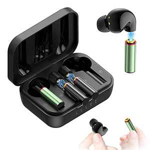 Wireless Earbuds Bluetooth, Replaceable Battery 100H Play time, Bluetooth 5.0 in-Ear Headphones Volume Control True Wireless Earbuds with Charging Box for Android iOS(2 Black Buds, 2 Green Battery)