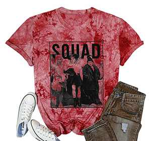 UNIQUEONE Womens Halloween Squad T-Shirt Funny Sanderson Sisters Graphic Tee Top (Tie Dye Red, X-Large)