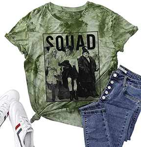 UNIQUEONE Womens Halloween Squad T-Shirt Funny Sanderson Sisters Graphic Tee Top (Tie Dye Green, Large)