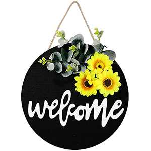 Welcome Sign for Front Door Welcome Sign,Interchangeable Welcome Sign Rustic Wooden Hanging Round Sign for Farmhouse Porch, Welcome Summer Sunflower Wreath for Front Porch Decorations Outdoor