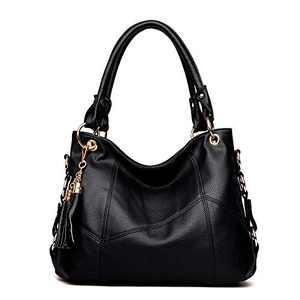 Hobo Bags for women Leather Handbags with tassel Large Crossbody Purses Women's Satchel Shoulder Bags for Travel Black