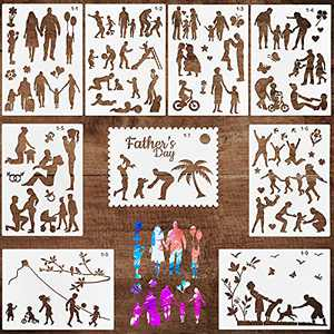 9PCS Family Stencils for Painting on Wood, Canvas, Paper, Fabric, Floor, Wall and Tile, Reusable DIY Drawing Template for Art Works and Craft Projects, 11.5x8.3 Inches