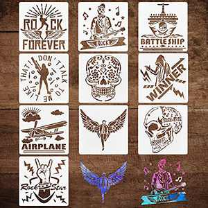 10 Pack Music Stencils for Painting on Wood, Canvas, Paper, Fabric, Floor, Wall and Tile, Reusable Drawing Stencil Template for DIY Art and Craft Projects (6 x 6 Inch)