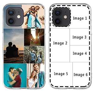 Custom Multiple Pictures Phone Case for iPhone 11 12 Pro Max X XR Xs Max, Personalized Phone Cases,Customized Photos Clear TPU Cover for Birthday Xmas Valentines Friends Her and Him Girls Boys