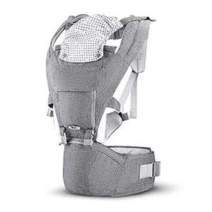 Baby Carrier, Baby Carrier Newborn to Toddler, GREJOUR Baby Carrier with Hip Seat for 4-36 Months Infant (8-33 lbs), Front and Back Carry for Hiking, Lightweight Baby Kangaroo Carrier (Light Grey)