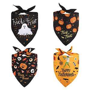 Kytely Halloween Dog Bandanas 4 Pack, Triangle Halloween Pet Bandana Reversible Dog Scarf Pumpkin Ghost Pets Bibs Accessories