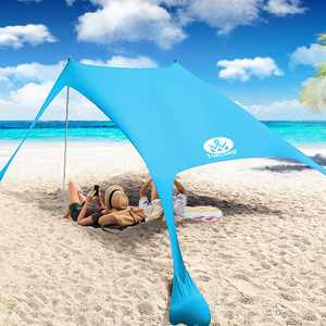 Thelord Pop Up Beach Tent Beach Sun Shelters for 3-4 People Beach Shade with 2 Aluminum Poles UPF 50+ Protection Beach Canopy for Camping, Fishing, Backyard, Bench (7x7ft, Turquoise)
