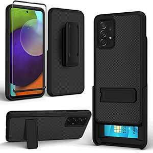 Aoways for Samsung Galaxy A52 5G Case with Screen Protector, Combo Shell & Holster Slim Shell Case with Kickstand, Card Slot, Swivel Belt Clip for Galaxy A52 4G & 5G - Black