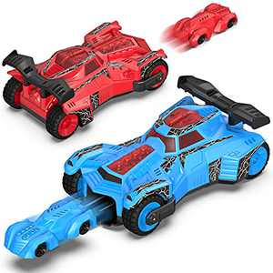 2-Pack Toy Cars for 3 4 5 6 7 8 Years Old Boys - Holiky Preschool Kids Car Launcher Toys with Lights and Sounds, Pull Back Motor Vehicles Toys for Toddler Boy Girl Christmas Halloween Birthday Gifts