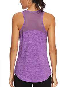 Quccefods Womens Workout Tank Tops Yoga Shirts Mesh Racerback Athletic Running Tank Tops Gym Workout Clothes Purple