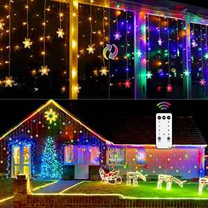 Marchpower 400 LED Snowflake Icicle Lights - 32ft 80 Drops Multicolor/Warm White Color Changing - Window Curtain Connectable Plug in Fairy Twinkle String Light - Remote Control 9 Modes Christmas Decor