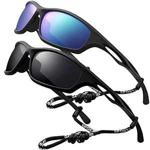Sports Sunglasses Polarized Men Driving Cycling Fishing Running Sun Glasses UV400 Goggles Glasses rope (2pack (blue/black) A))