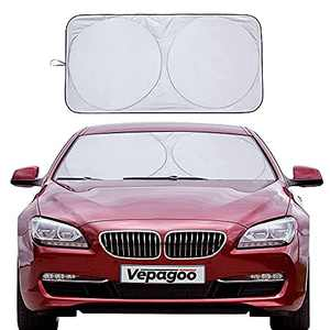 Veapgoo Car Windshield Sun Shade Window Cover Shade Interior Sun Protection 64inX32in, UV Rays and Sun Heat Protector, Prevents Dashboard Fade and Crack.
