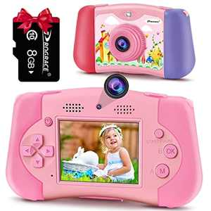 PROGRACE Kids Camera Handheld Game Console Two in One Digital Camera for Boys Girls Selfie Camera MP3 Player Include 8G Memory Card