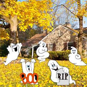 Ghost Halloween Decorations - 5PCS Friendly Halloween Ghost Stake Signs for Outdoor Decorations - Halloween Yard Lawn Props for Party Decor, Trick-or-Treating Decor