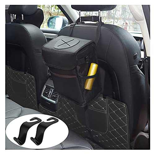 Waterproof Car Trash Can with Lid and Big Storage Pockets(3 Gallon 12L 1 Pack), 100% Leak-Proof Car Organizer, Durable Car Garbage Can, Multipurpose Trash Bin for Car SUV Truck Boat- Black