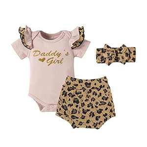 Infant Baby Girl Clothes Pink Summer Outfit Set Newborn Onesies Ruffle Romper Bodysuit Leapord Print Shorts Headband 3Pcs