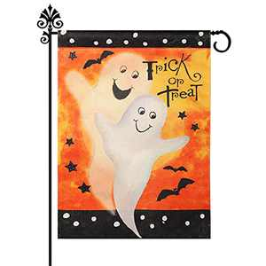 Fall Halloween Garden Flag 12 x 18 Inch Vertical Double Sided Ghost Trick or Treat Small Halloween Flag Burlap House Flags for Fall Yard Outdoor Indoor Decoration