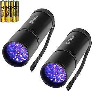 2 Pack UV Flashlight Black Light, 12 LED Handheld Blacklight Pet Urine Detector for Dog Dry Urine, Scorpion with 6pcs AAA Batteries