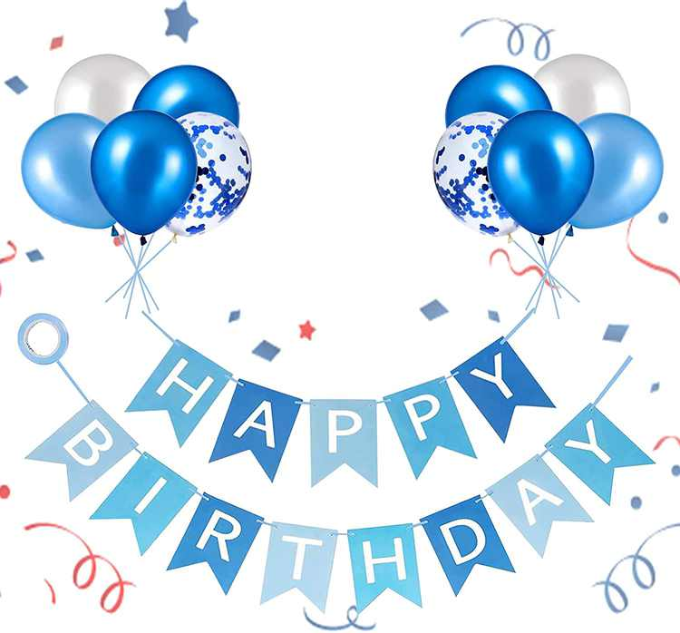 Happy Birthday Banner, Party Decoration Happy Birthday Bunting, Banners with Blue Latex Balloons/Confetti Balloons for Girls Boys 1st 18th 21st 30th Any Ages Birthday Decorations