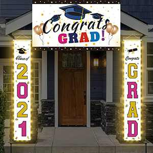 Graduation Decorations Banner Set 2021, LED Light up Congrats Grad Yard Sign, Extra Large 71 x 47 inch with Porch Hanging, Class of 2021 Graduation Party Supplies, Gold and Rose Red