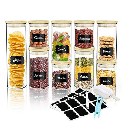 Glass Food Jars Canisters Set (9pack/86.24oz), Spice Jar Airtight Food Jars Kitchen with Bamboo Lids for Kitchen Counter, Flour, Sugar, Tea, Pasta, Coffee, Snack, Spice and Herbs with Labels, Marker and Brush