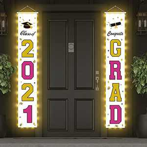 Graduation Decorations Banners 2021, Class of 2021 Graduation Porch Banner with LED Light, Large 71 x 12 inch Hanging Congrats Grad for Graduation Party, Gold and Rose Red