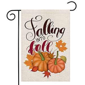 LARMOY Fall Thanksgiving Garden Flag 12×18 Double Sided,Harvest Pumpkins with Maple Leaves,Small Welcome Yard Flags for Outside,Rustic Farmhouse Holiday Decor,Autumn Decorative Outdoor Banner