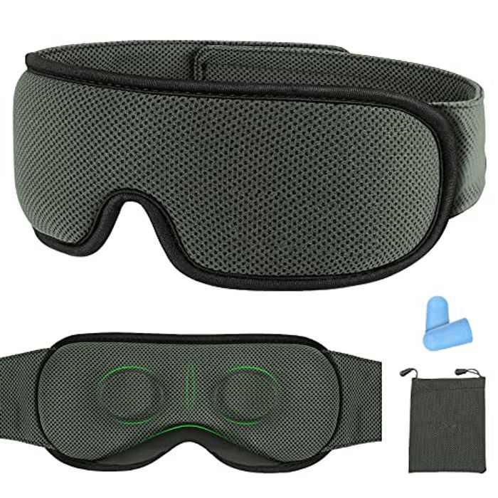 Sleep Mask, Voluex Eye Mask 3D Contoured Design Sleep Masks for Men and Women Adjustable 100% Light Blackout Eye Mask for Sleeping Travel Naps, with Earplugs and Portable Bag, Dark Grey
