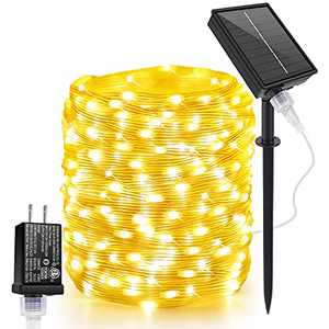 Outdoor Solar LED String Lights Waterproof ,164FT 400 LED with 8 Mode Fairy String Lights Plug in, Copper Wire Lights with Remote Control for Garden Patio Party Wedding Decoration (Warm White)