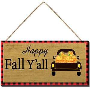 Jetec Halloween Happy Fall Y'all Wood Sign Happy Fall Y'all Hanging Wood Sign Halloween Farmhouse Truck Wall Decor Fall Wall Hanging Plaque for Halloween Thanksgiving Party Home Wall Door Decoration