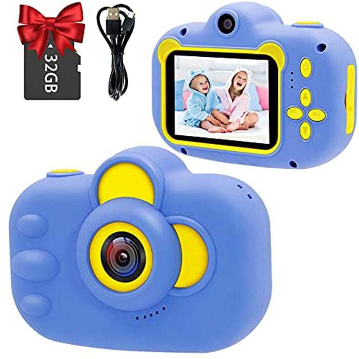 Kids Camera, WJLING 2.4 Inch 20MP HD Digital Kids Camera 1080P Video Recorder with 32GB TF Card, Child Rechargeable Digital Camera Toy Birthday Festival Toy Gift for Children (Blue)