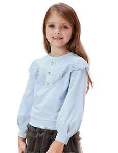 Scarlet Darkness Girls Ruffle Sweatshirt Pullover Winter Cotton Long Sleeve Tops Shirts Fall Blue 8Y