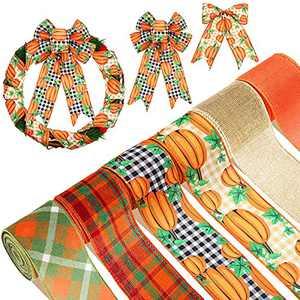 30 Yard 2.5 Inch Autumn Fall Pumpkin Wired Edge Ribbon Fall Gingham Pumpkin Ribbon Orange and Black Buffalo Plaid Ribbon Fall Decorative Ribbon for Fall Crafting Sewing Wrapping Farmhouse Decor
